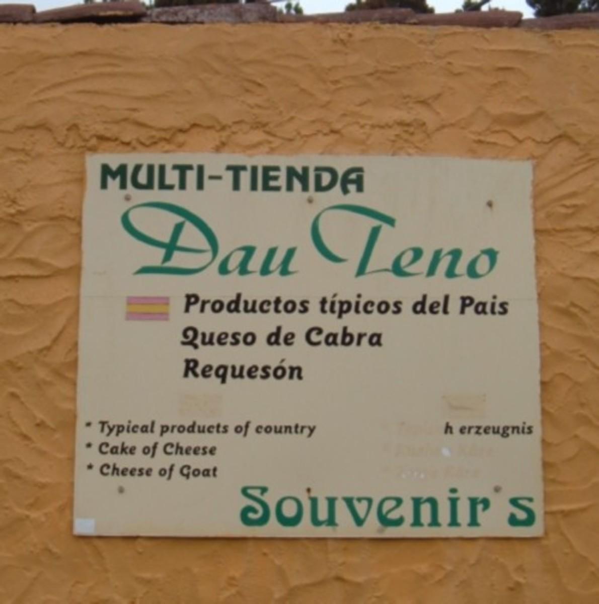 Shop sign in Teno Alto