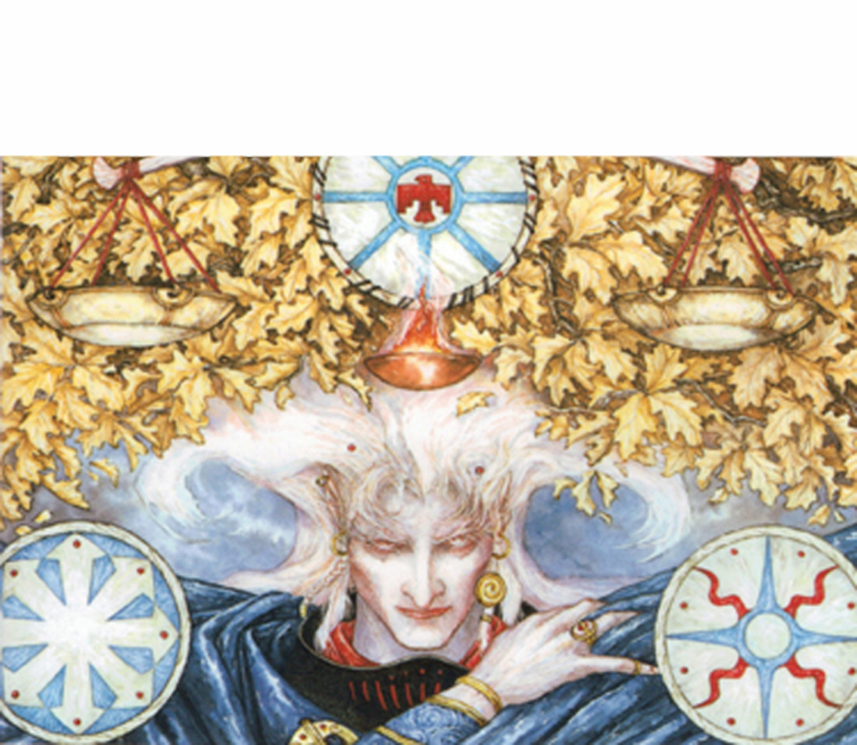 Sample from the cover of Skrayling Tree, art by Robert Gould.