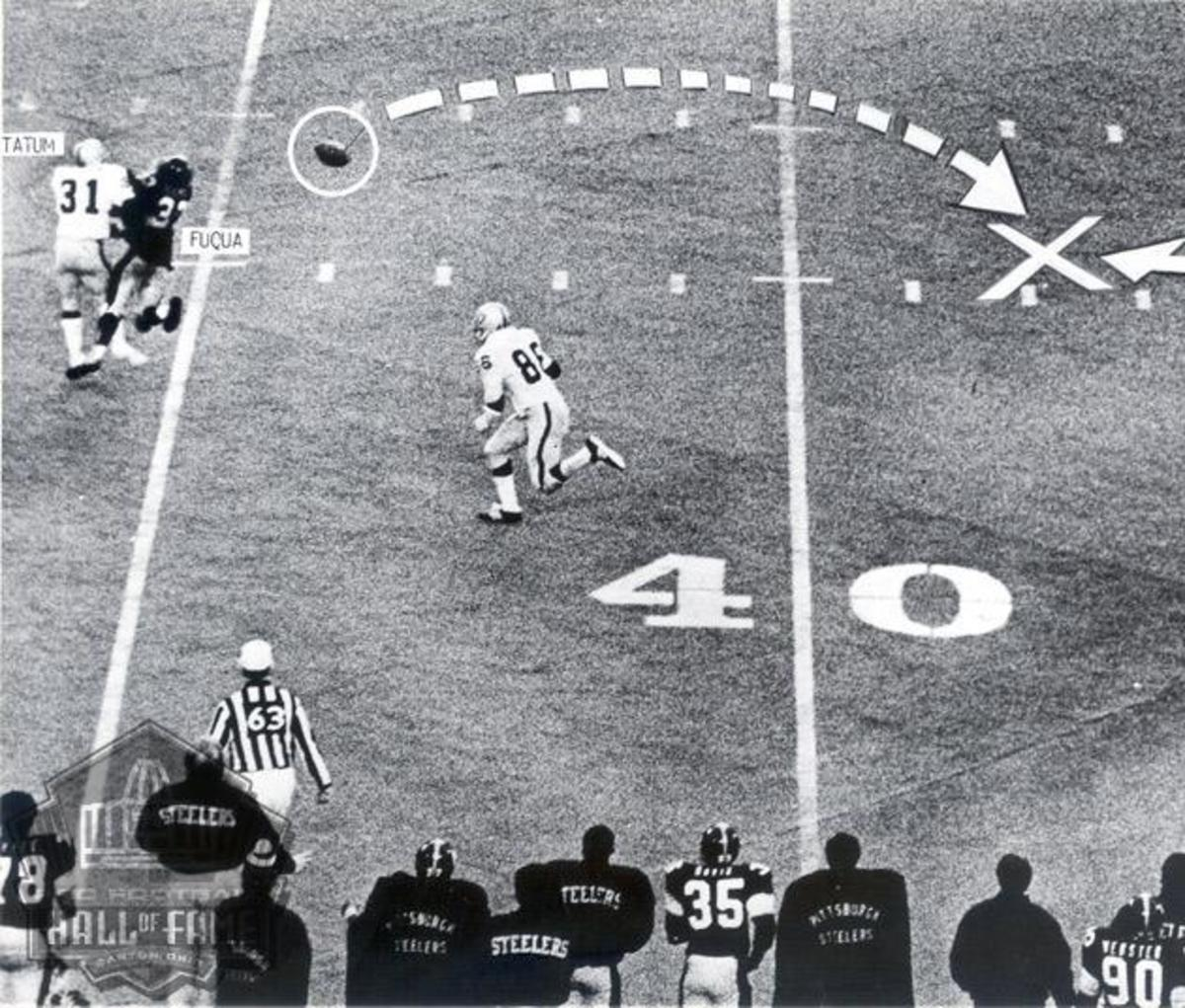 Pittsburgh quarterback Terry Bradshaw dropped back to pass, but the Raiders flushed him out of the pocket to the right. He saw running back John (Frenchy) Fuqua over the middle at the Raiders' 35, and with defenders closing, Bradshaw fired a pass tow