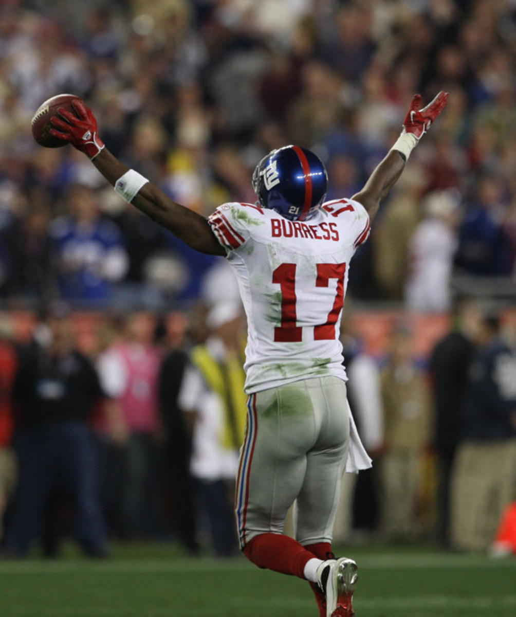 Giants Plaxico Burress #17 celebrates his game winning touchdown catch against the Patriots during Super Bowl XLII  Photo by Ben Liebenberg / NFL.com.