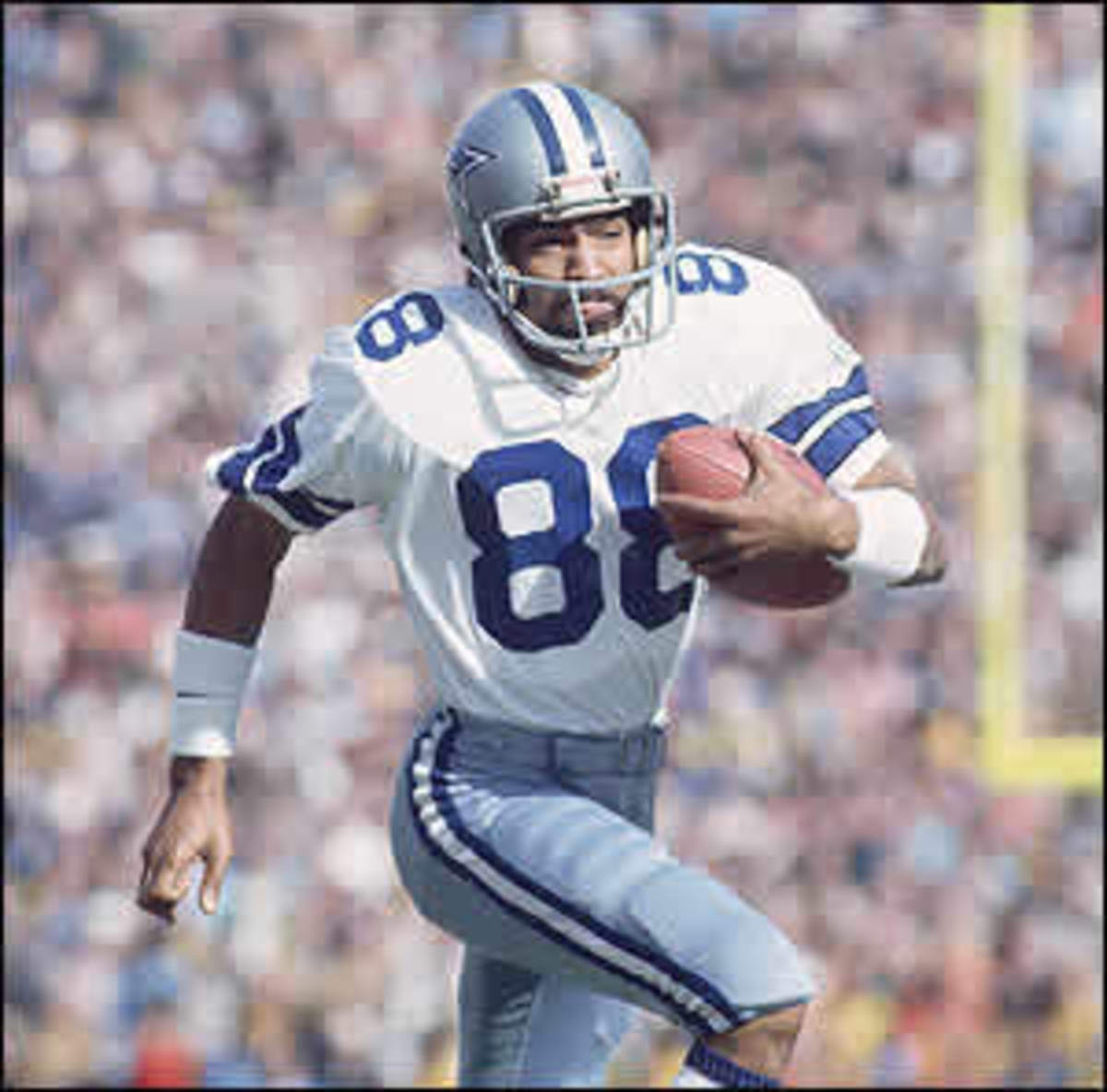 "Drew Pearson -- Famous Dallas Cowboys wide receiver. Best remembered for his ""Hail Mary"" catch from QB Roger Staubach against Minnesota in the 1975 playoffs. Ranks 2nd among Cowboys receivers in both receptions and yards."