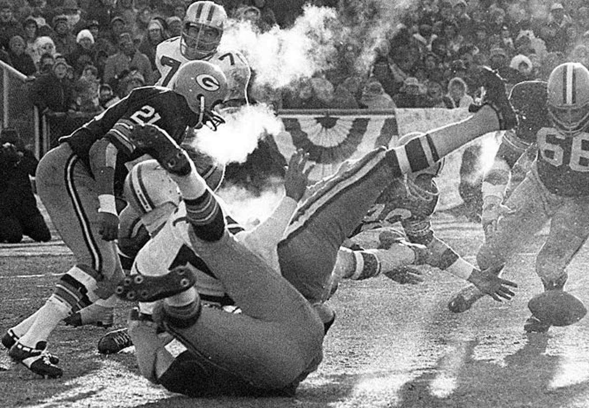 Football was made to be played in the elements, and few places host the elements like Green Bay, where the Packers defeated the Dallas Cowboys 21-17 on Bart Starr's 1-yard sneak with 13 seconds left in the legendary Ice Bowl. Referees' whistles froze