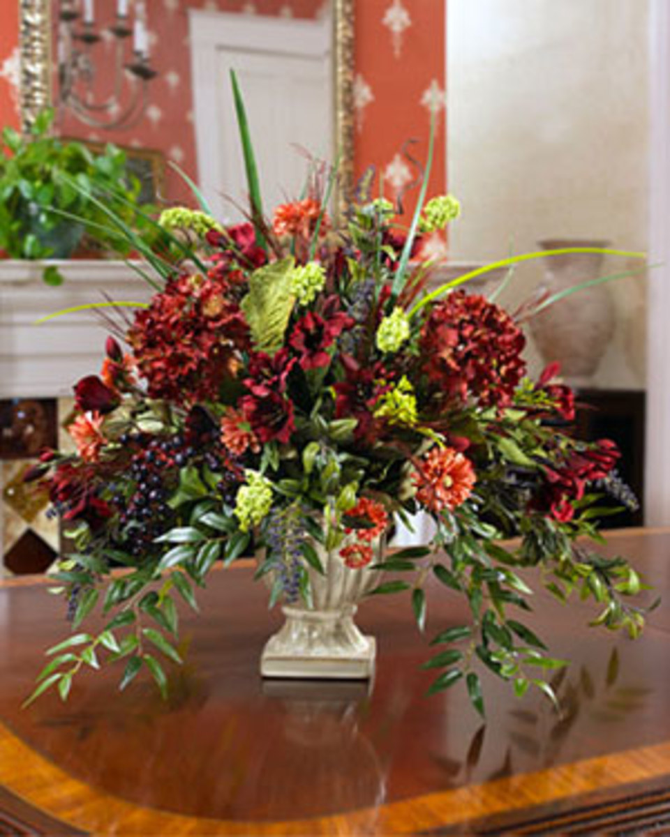 Artificial silk plants and silk flowers are the perfect centerpiece for the home