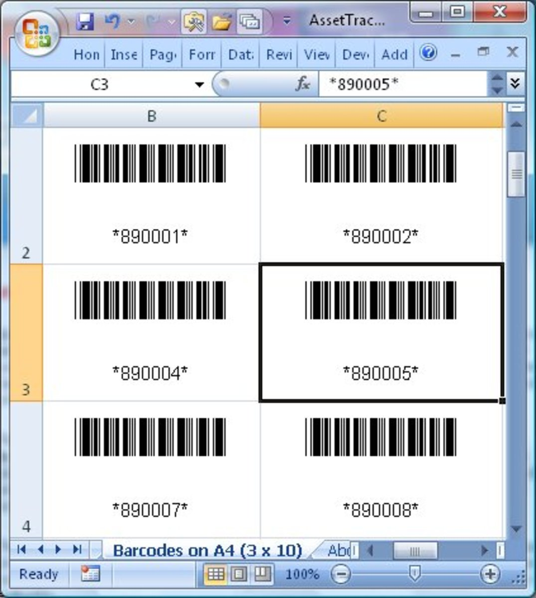 This is an Example of Barcode Assets Tracking that you can make to Track Assets for Home Inventory and Small Businesses Using Free Excel Templates