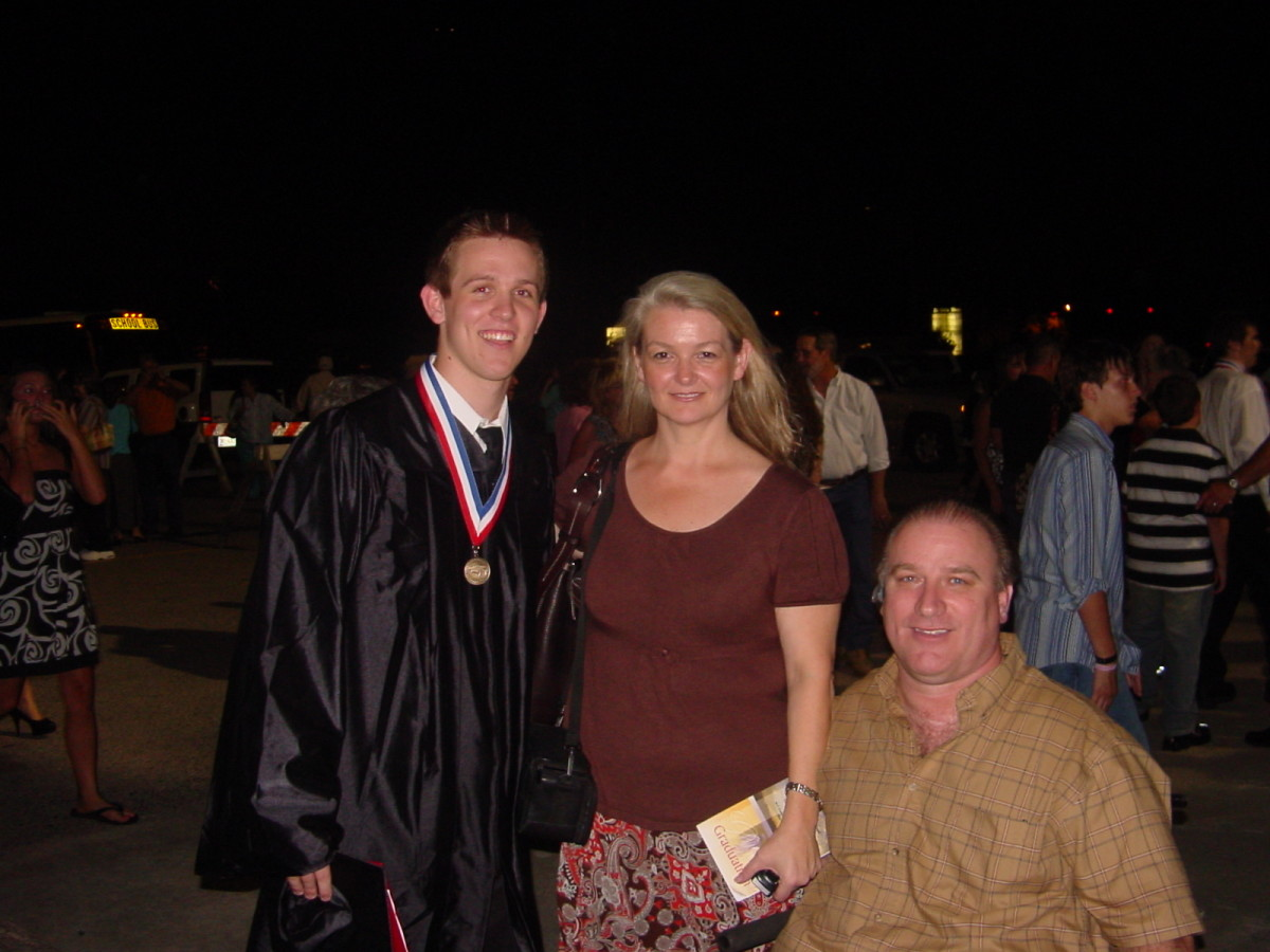 Clark, Laura, and Ryan Rone at Ryan's high school graduation
