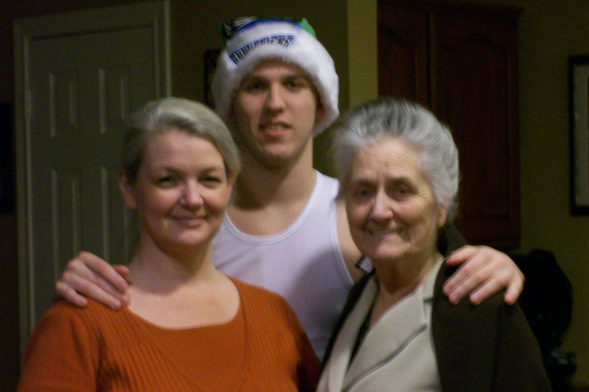 Clark's wife, Laura, son Ryan, and his mother Mrs. Rone