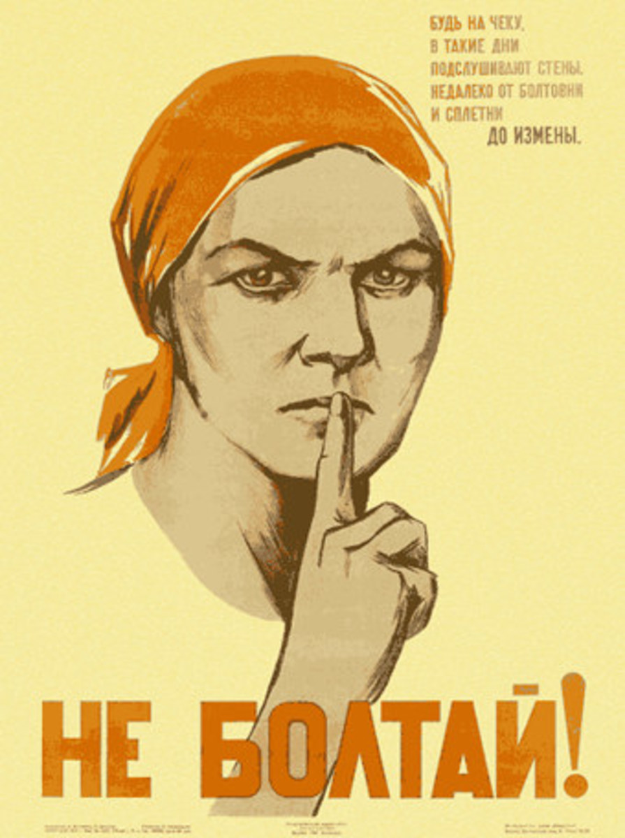 "Soviet poster. It says ""Don't chat!"""