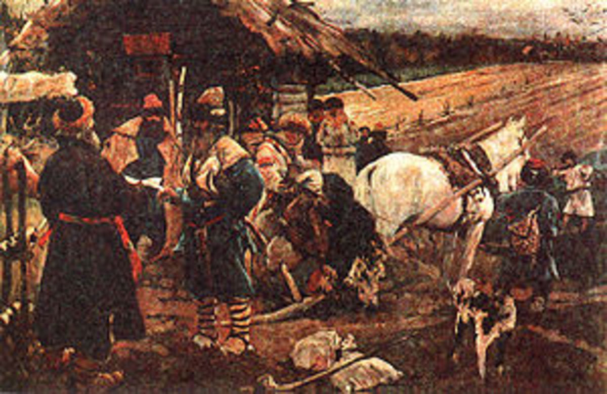 A Peasant Leaving His Landlord on Yuriev Day, painting by Sergei Ivanov.