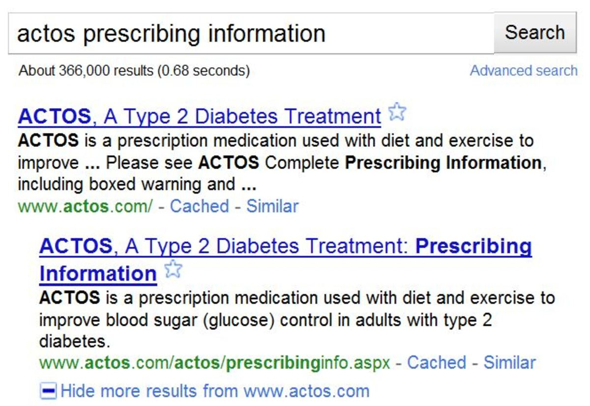 "Google results from typing ""Actos Prescribing Information"""