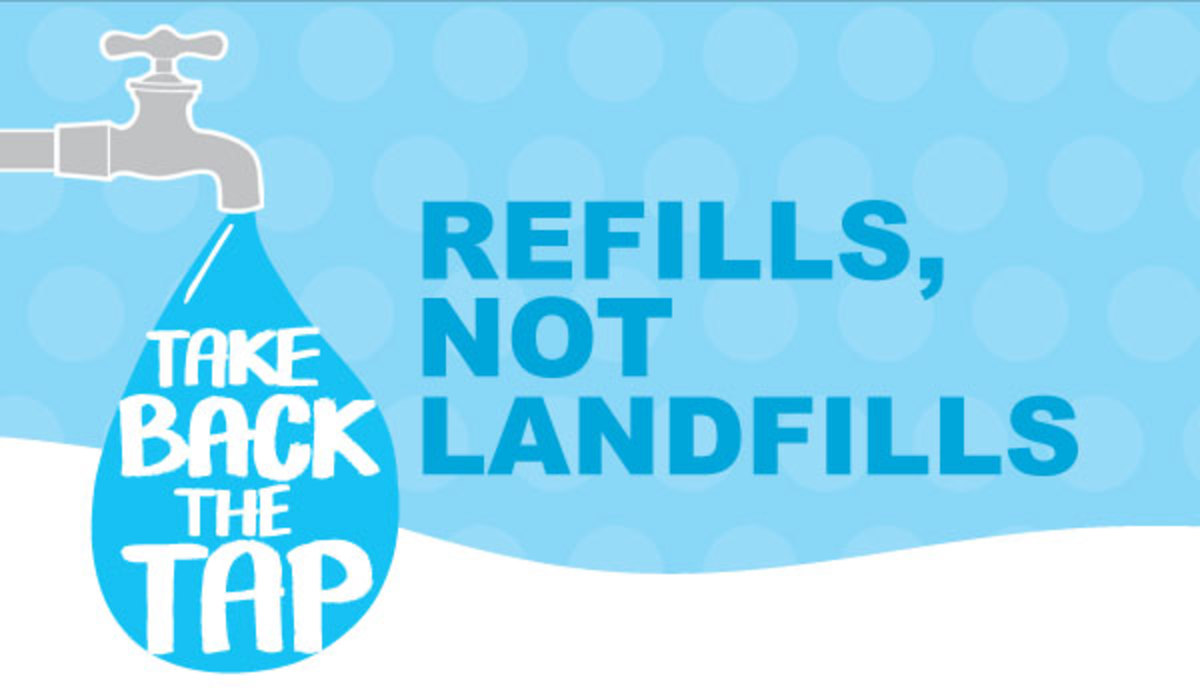 colorful poster Take Back the Tap - Refills, Not Landfills - supporting tap water over bottled water