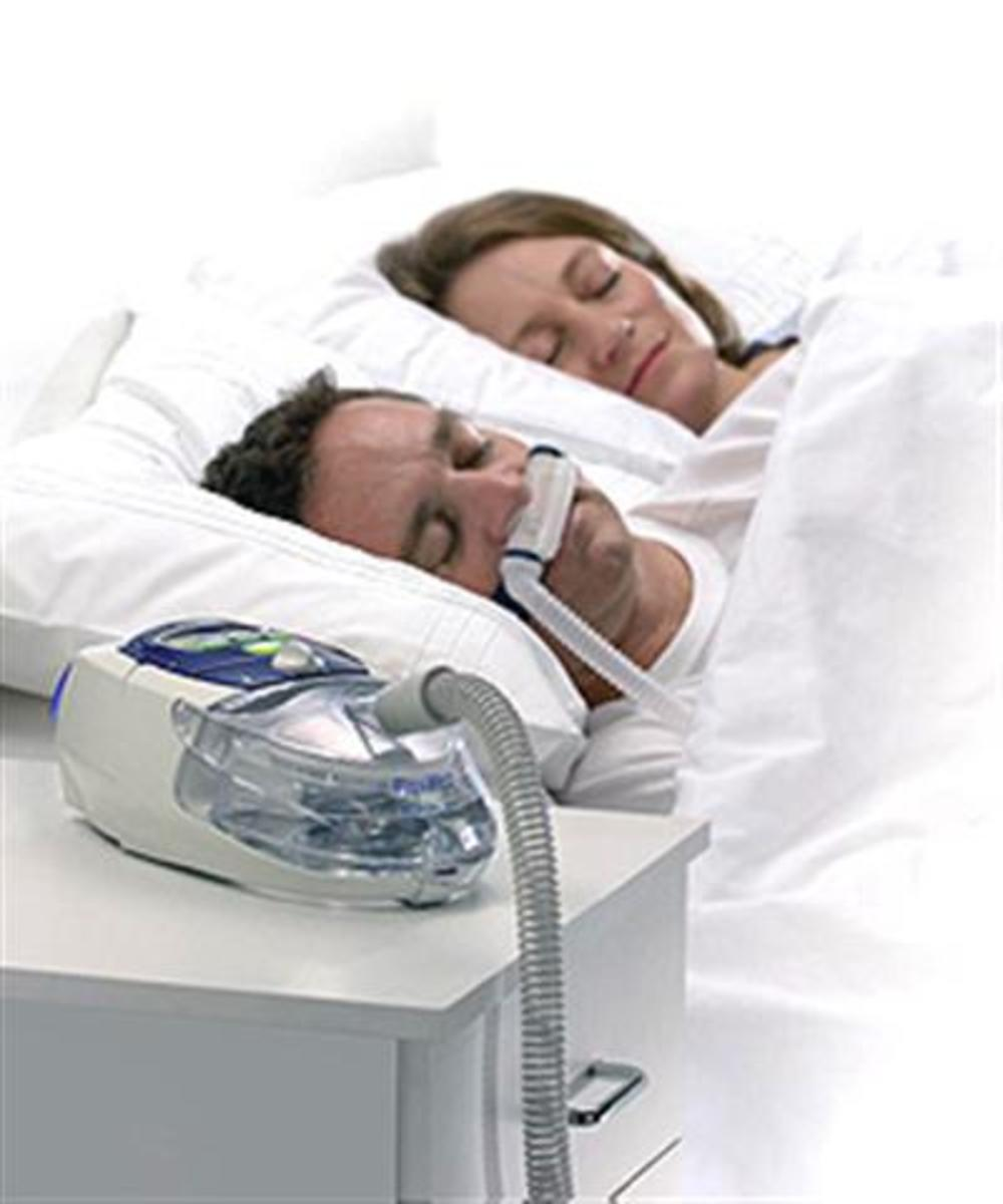 Sleep Apnea Machine shown with man and woman sleeping