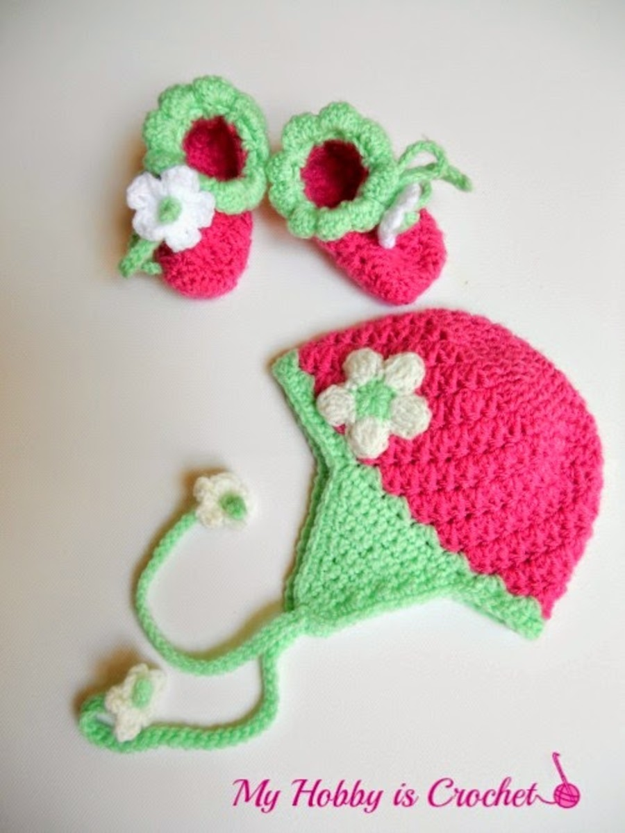 Crochet Strawberry Earflap Hat