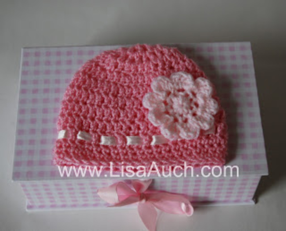 Crochet Baby Beanie Hat with Flowers