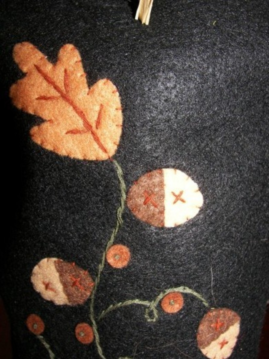Hand Stitched Detail on the Halloween Scare Crow