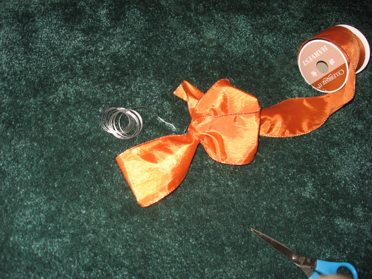 Lengths of ribbon, tied with wire.