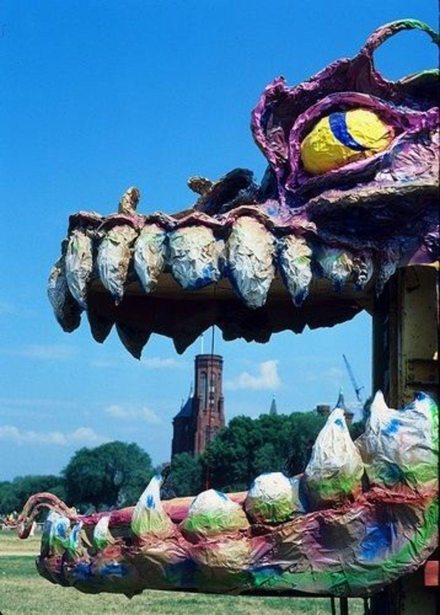 Papier mache parade float dragon