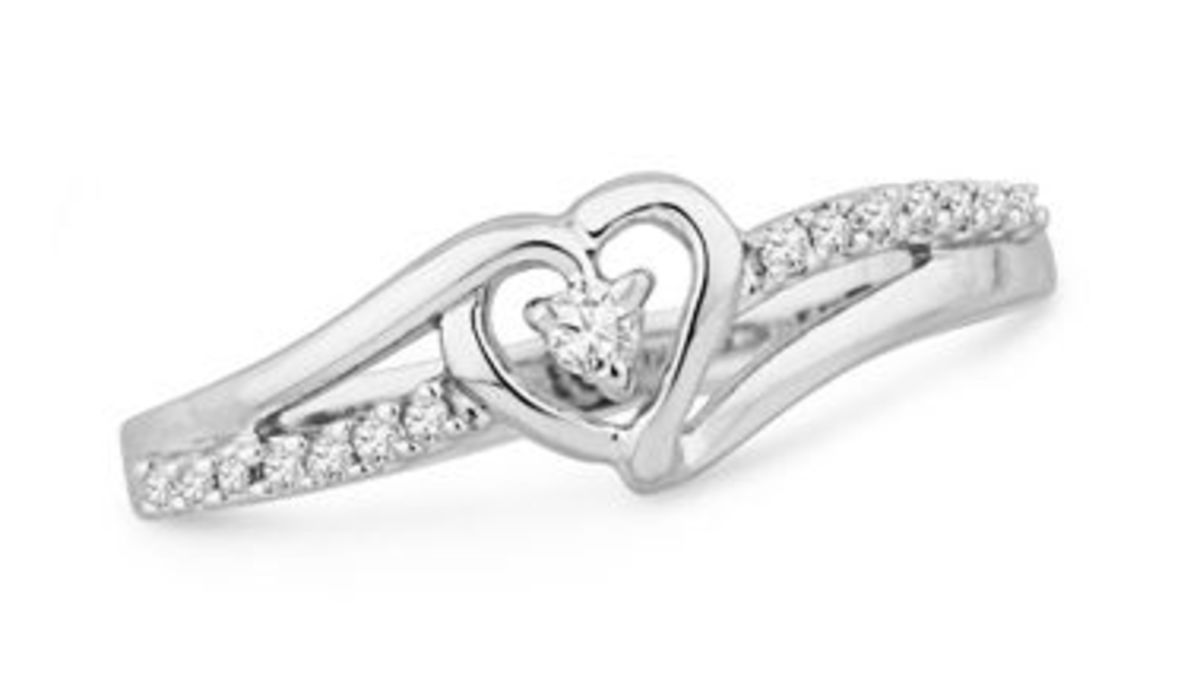 Sterling Silver Round Diamond Heart Promise Ring