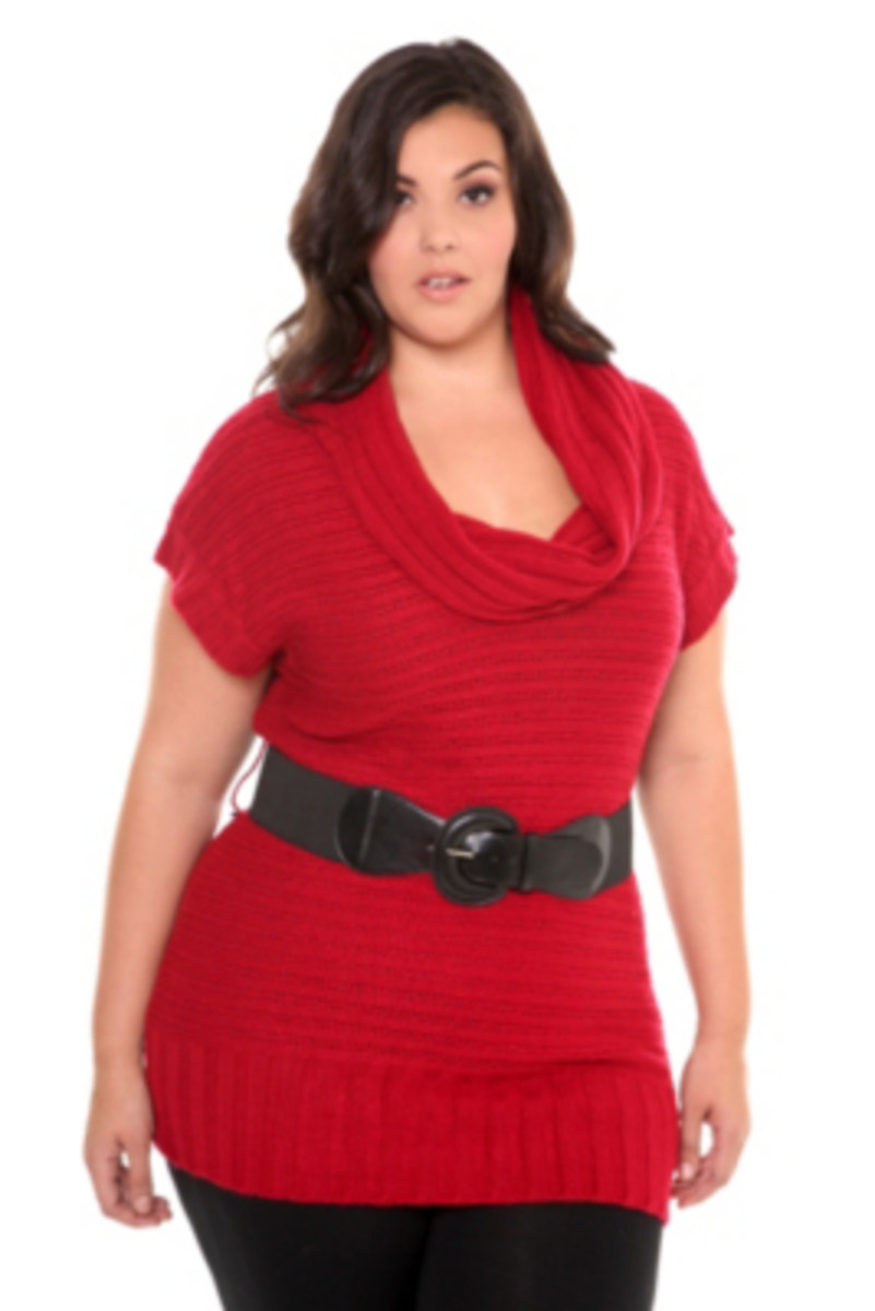 Red Belted Short Sleeve Tunic Sweater