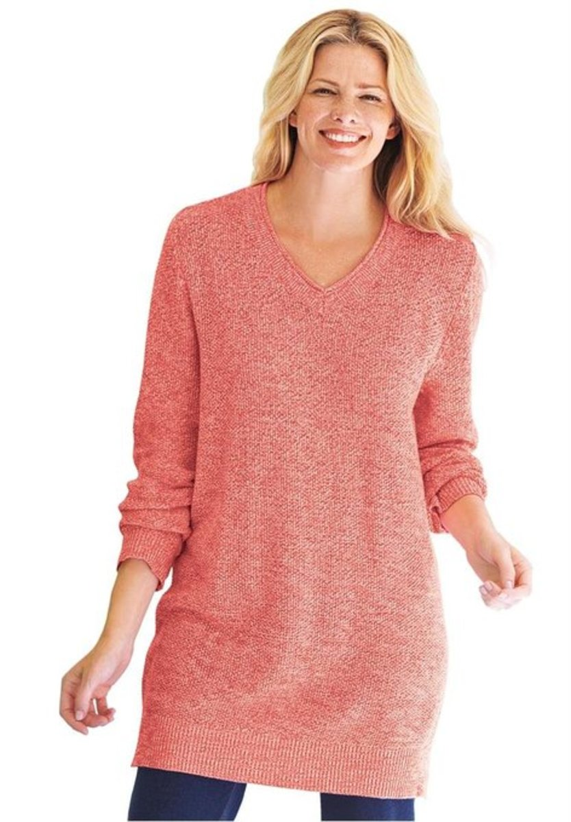 Women's Plus Size  V-Neck Pullover Sweater