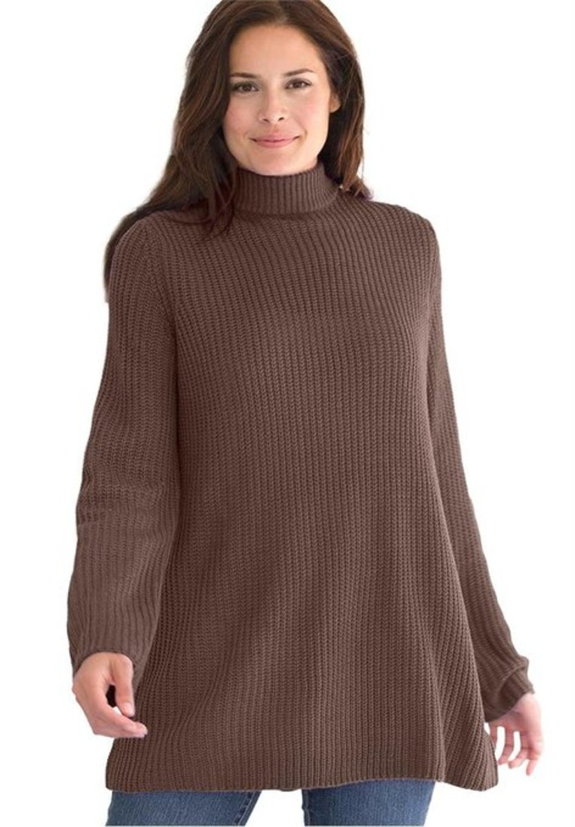 Sweater, Pullover Swing Style, In Shaker Stitch With Mock Turtleneck  Relaxed fit to move at ease