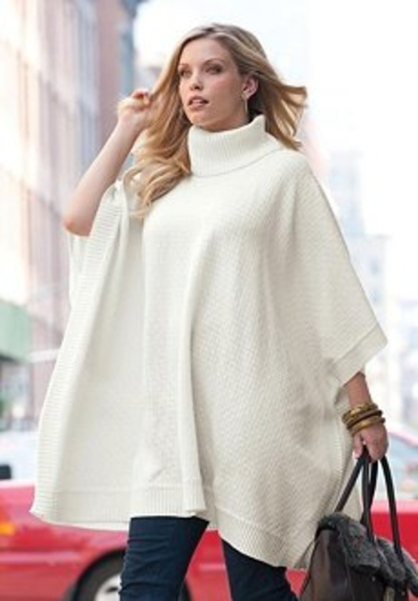 Jessica London Plus Size Turtleneck Sweater Poncho