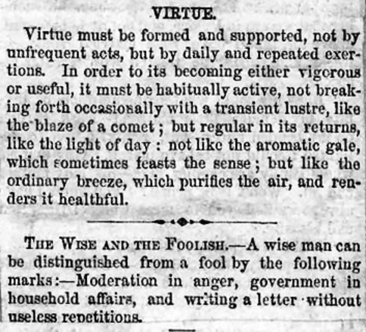 Virtue and 'The Wise and the Foolish'
