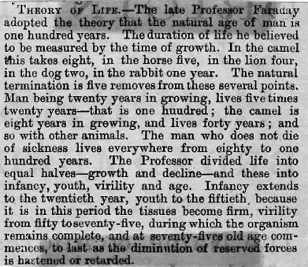 Theory of Life by Professor Faraday