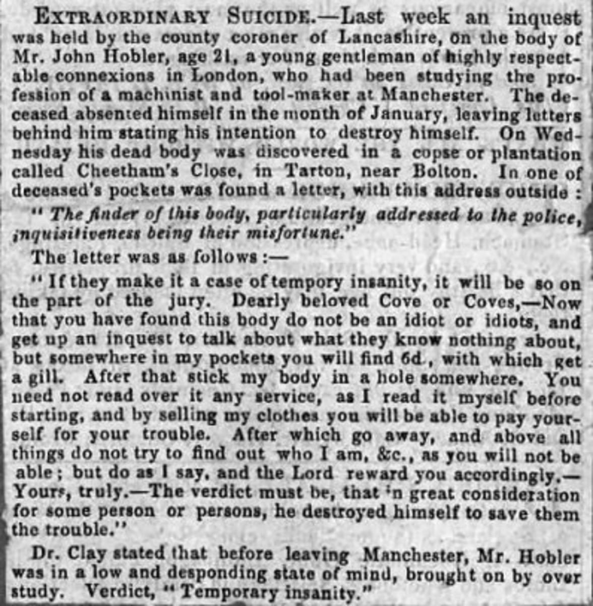 EXTRAORDINARY SUICIDE of John Francis Hobler (1835-1856)