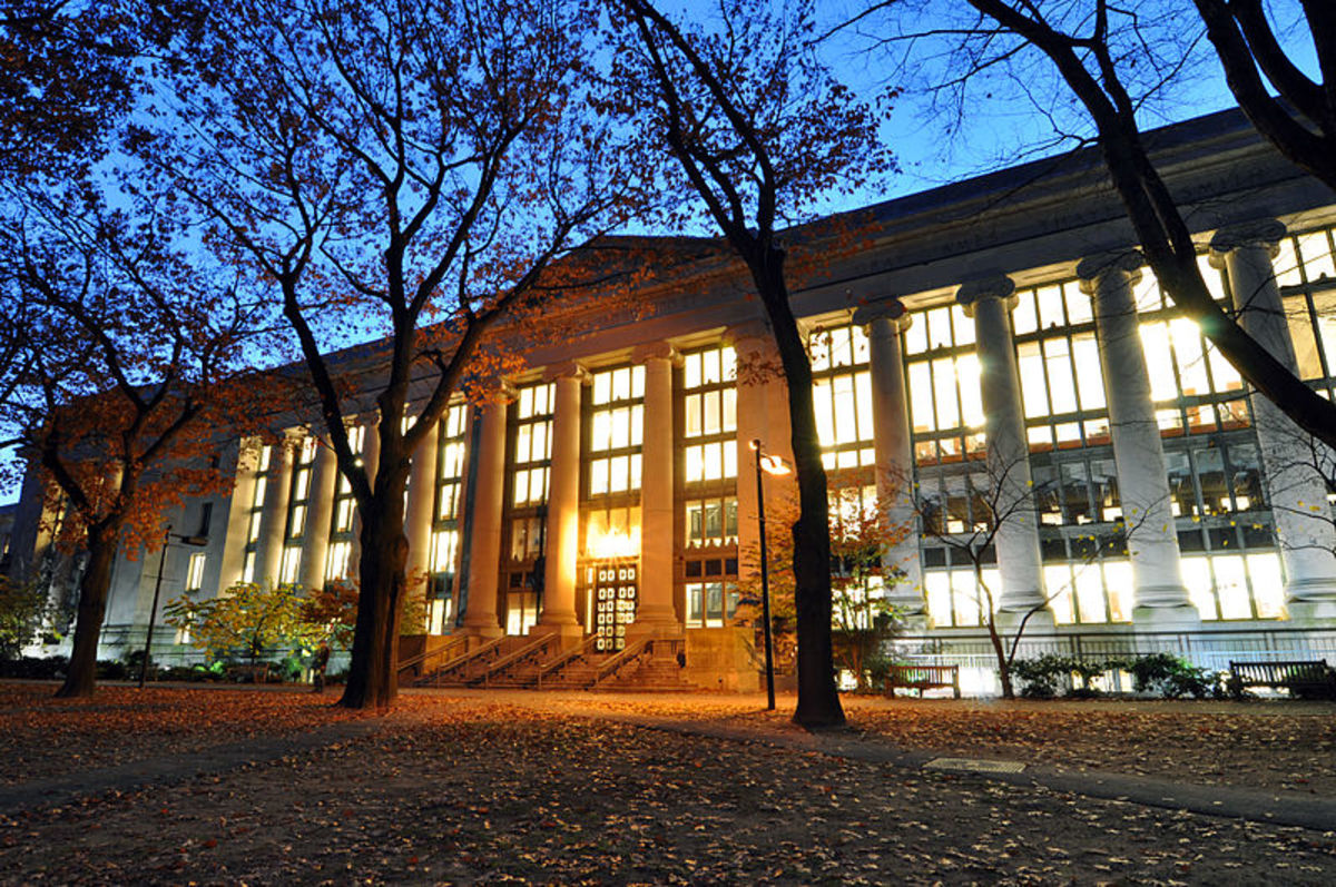 Harvard Law Library at night.  This library is a focal point on campus and the largest academic library in the world.