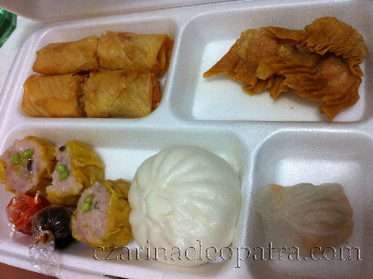 From top left-clockwise: thick fried lumpia, fried dumpling, steamed dumpling, siopao, and siomai