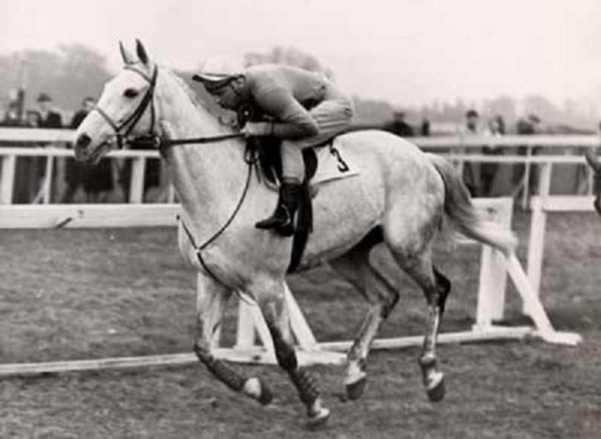 Grey horse Nicolaus Silver, trained by Fred Rimell, wins the Grand National in 1961