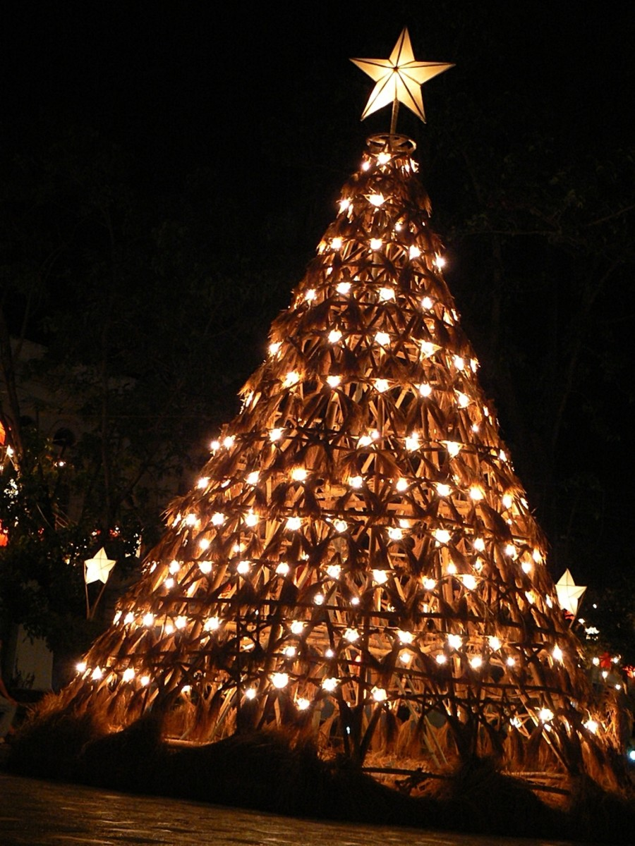 Parol at the Top of a Philippine Christmas Tree