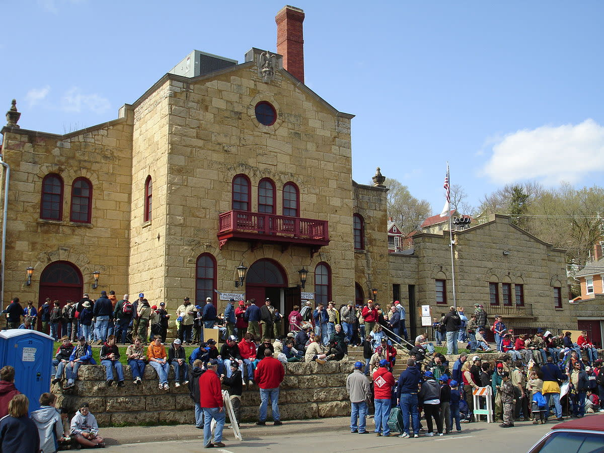 Boy Scouts on their annual Ulysses S. Grant Pilgrimage gather in front of Turner Hall and Fire Department, part of the Galena Historic District in Galena, Illinois, USA. U.S. National Register of Historic Places