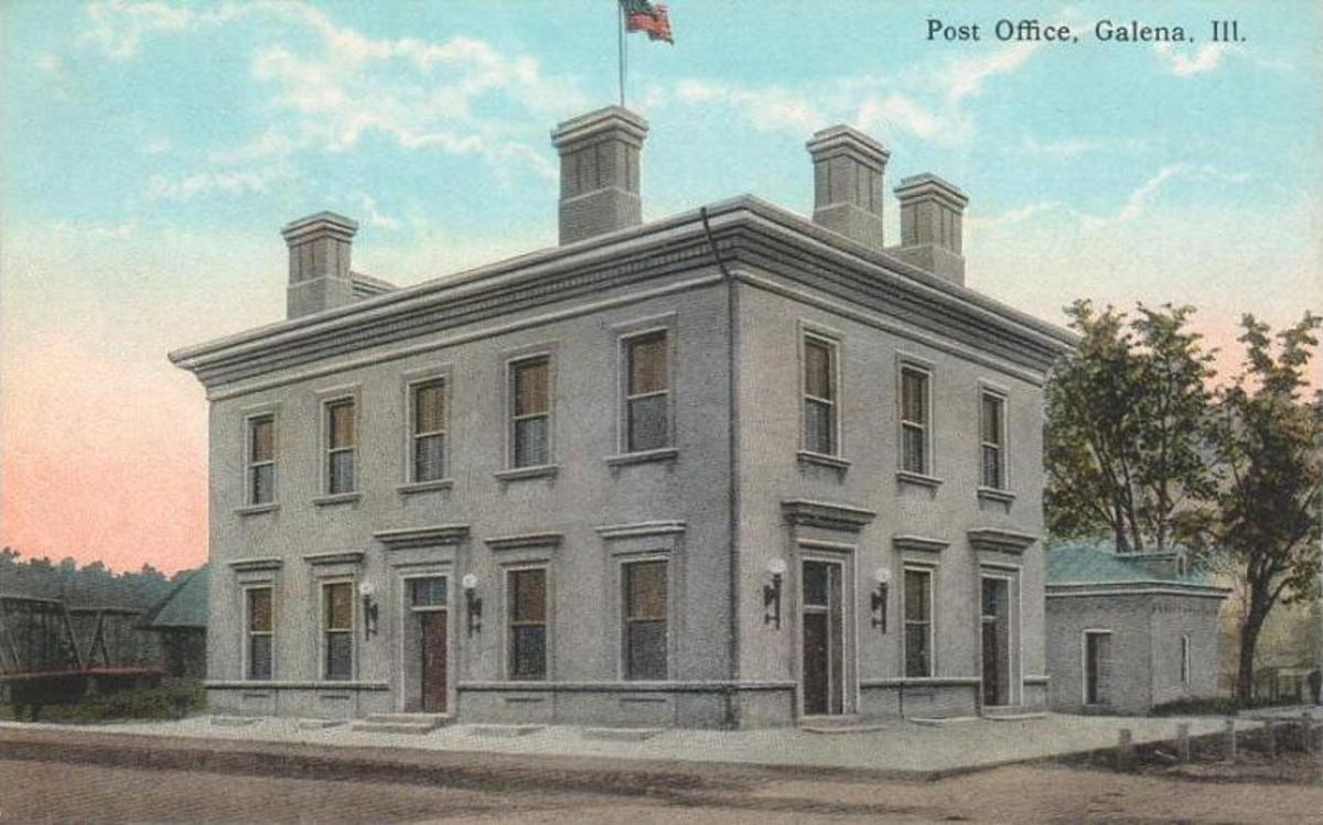 "Galena Custom House and Post Office in Galena, Illinois — from c. 1912 postcard.     It is the second oldest continuously operating post office in the United States, and the first to be named a ""Great American Post Office"" by the Smithsonian."