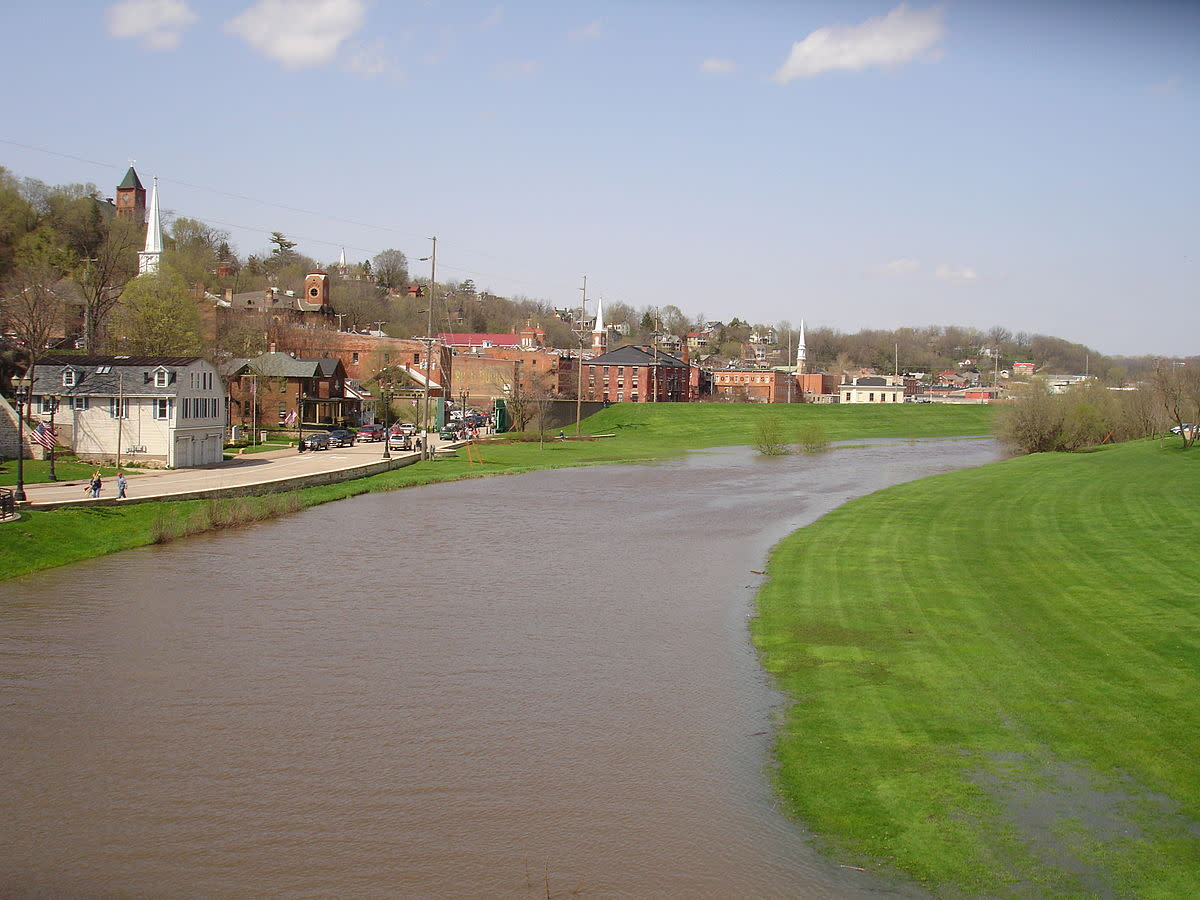 Galena River flowing through downtown Galena, Illinois, USA.