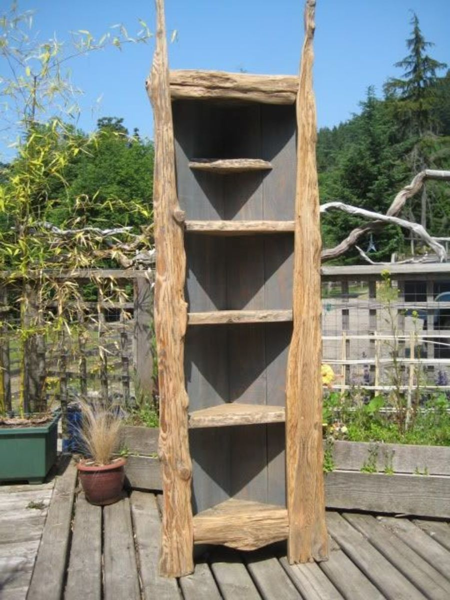 Tall corner shelf