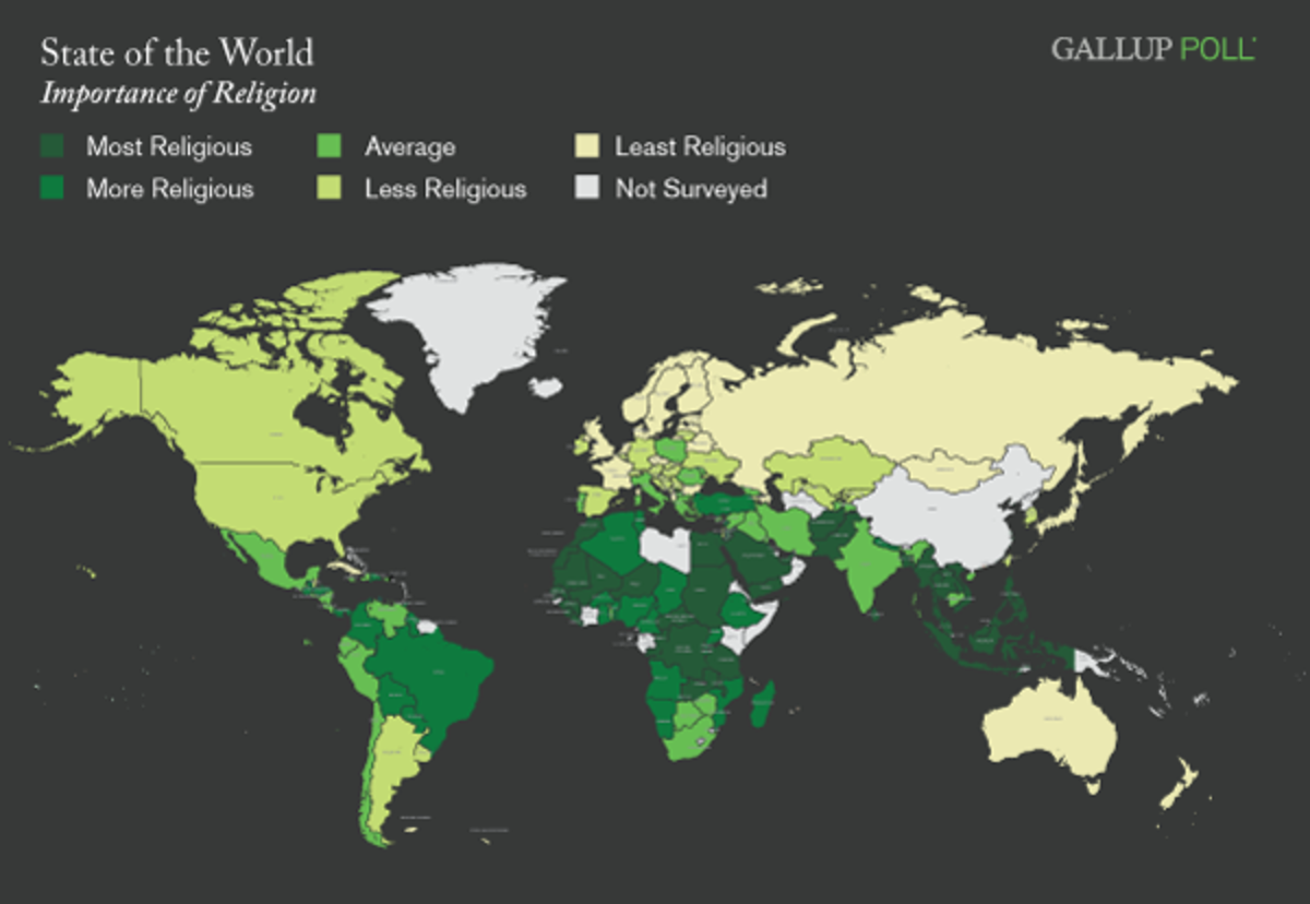 Traditionally Christian countries are the least religious