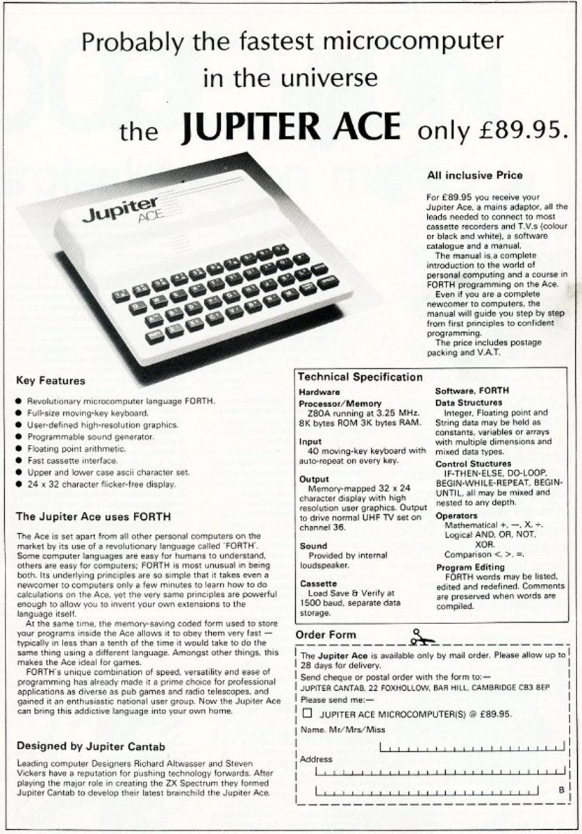 A magazine advert for the Jupiter Ace micro-computer complete with order form