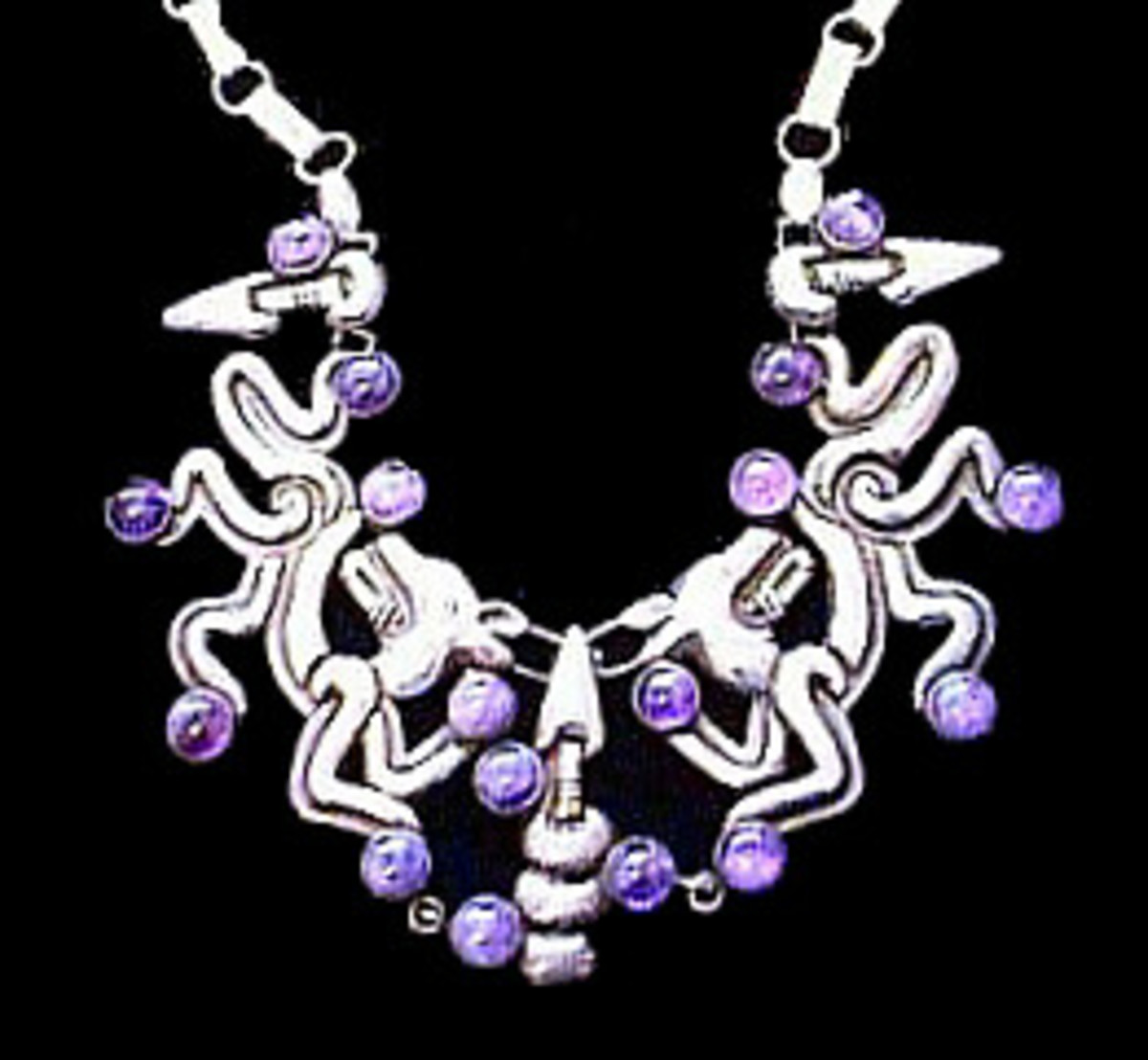 Spratling Jaguar Necklace with Amethysts