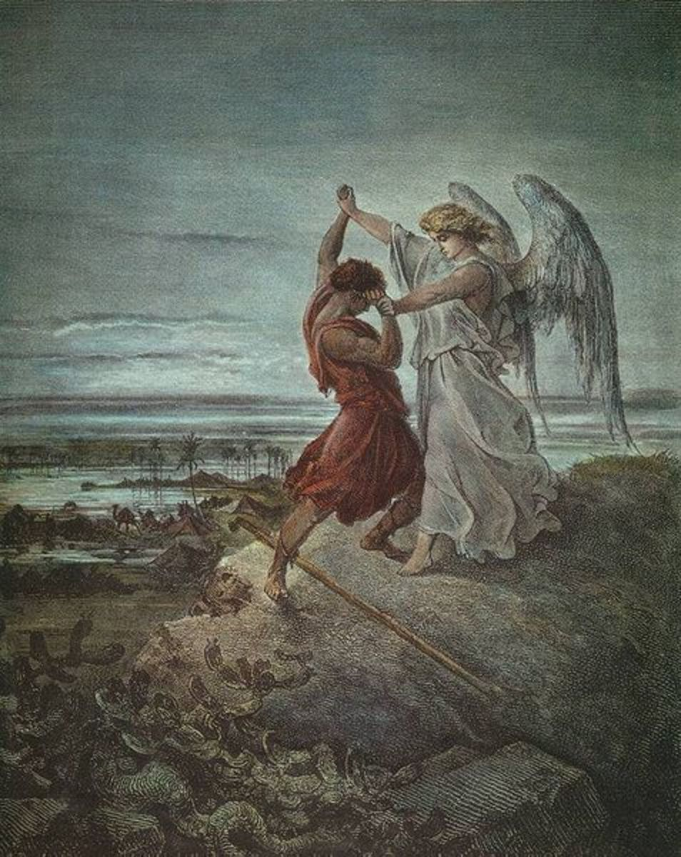 """Jacob Wrestling with the Angel"" - by Gustave Dore (1855)"