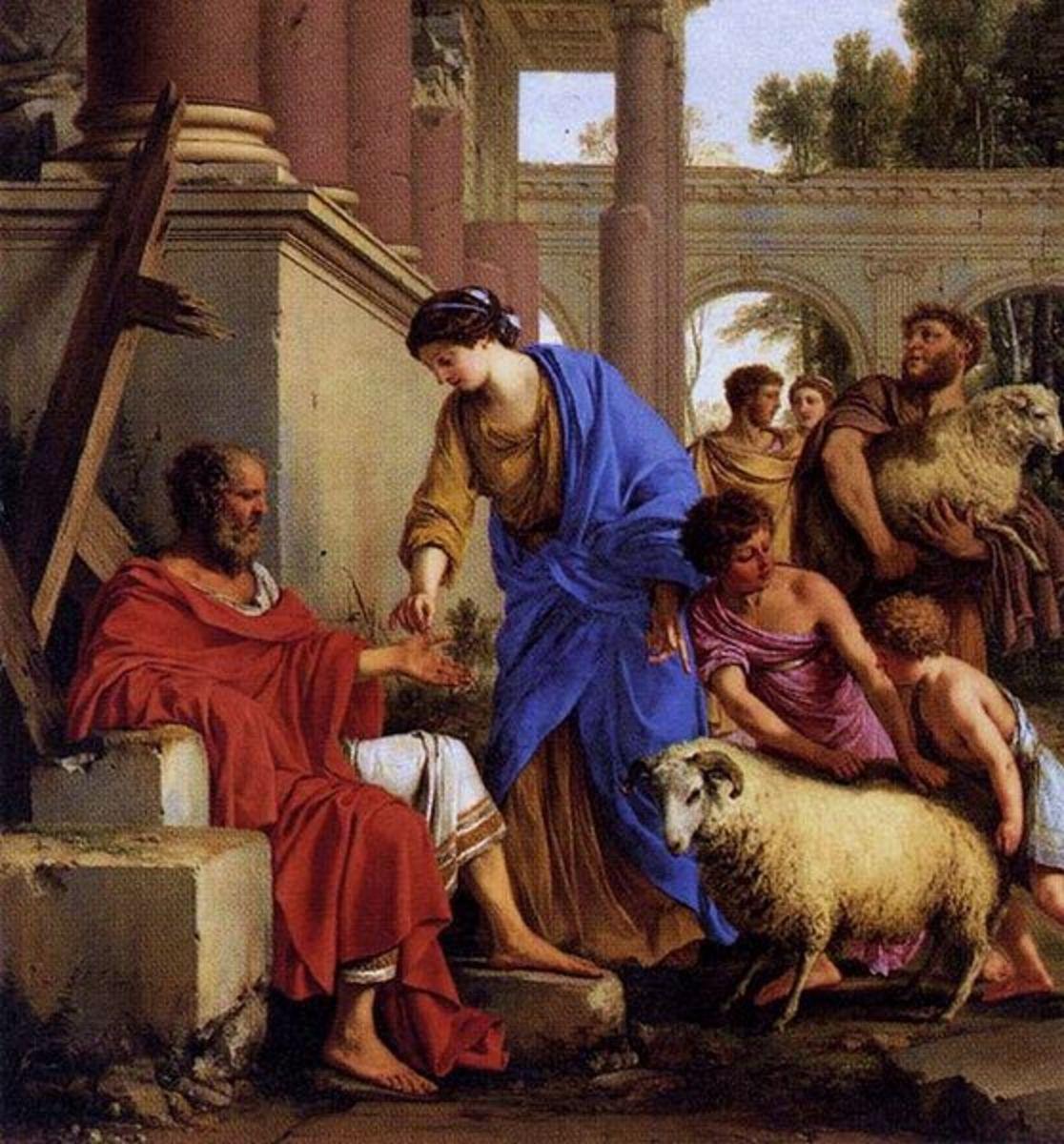 """Job Restored to Prosperity"" - by Laurent de La Hyre (1648)"