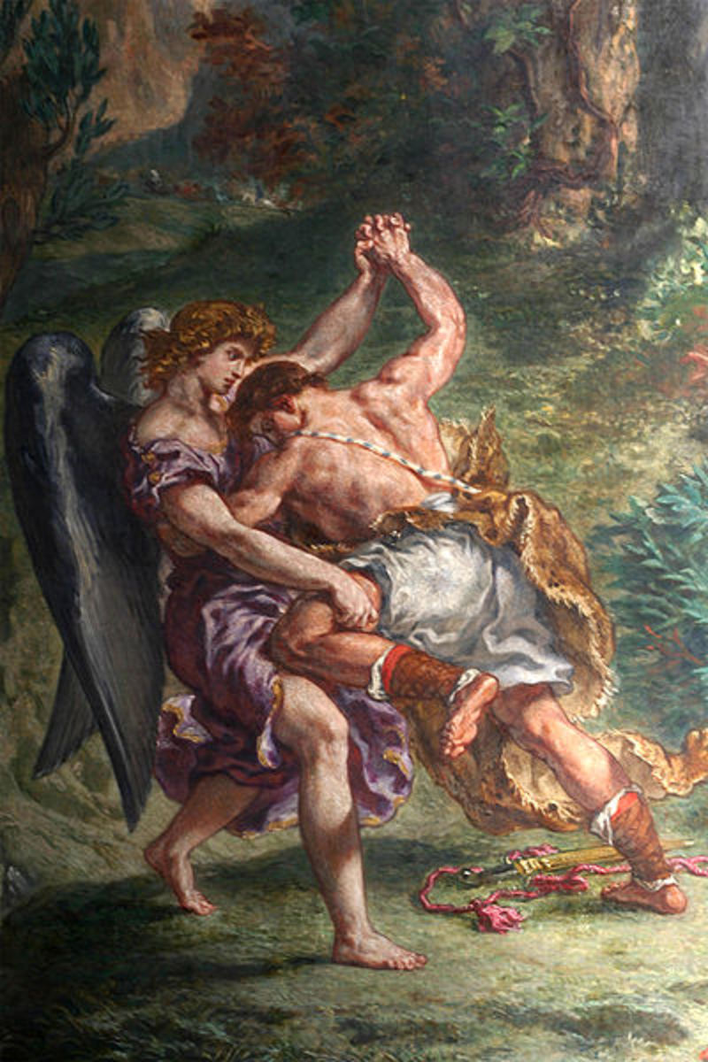 """Jacob Wrestling with the Angel"" - by Eugene Delacroix (1861) DETAIL"