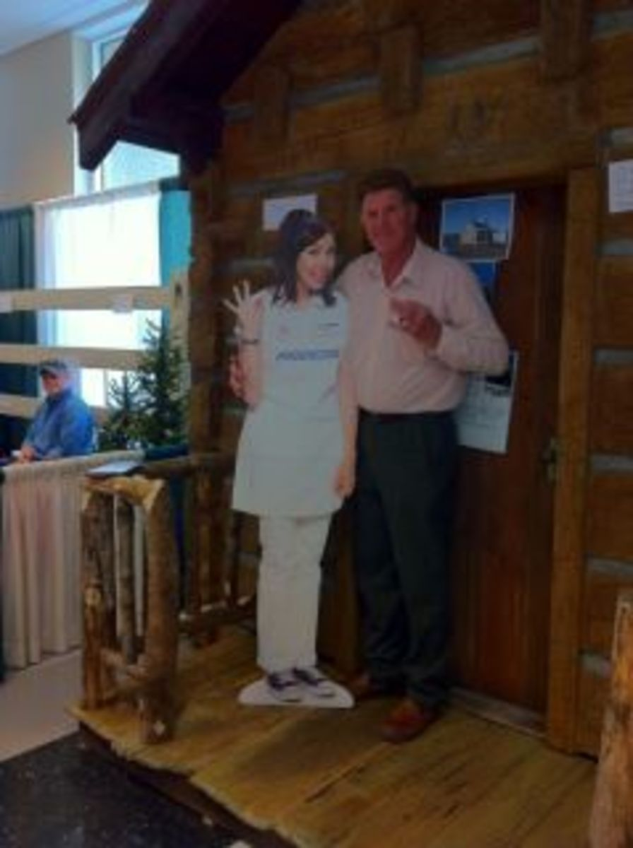 Walt fooling around with faux Flo at the Cincinnati Home Show