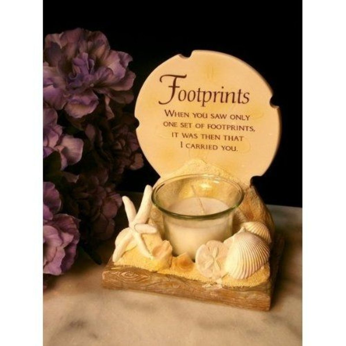 Click Photo to Buy this Footprints Poem Votive Holder