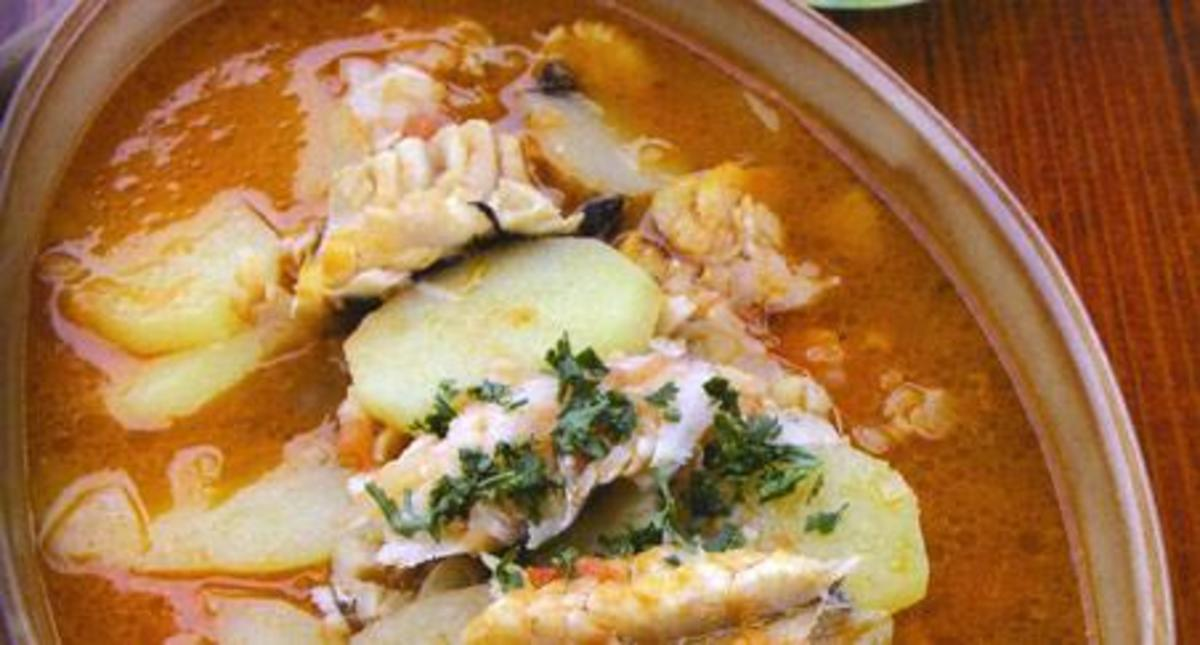Fishermen's Stew, made of dry codfish (bakalar).  It is served on Christmas Eve with sliced potatoes and a red or white broth.  The fish must be soaked in water for several days before cooking.