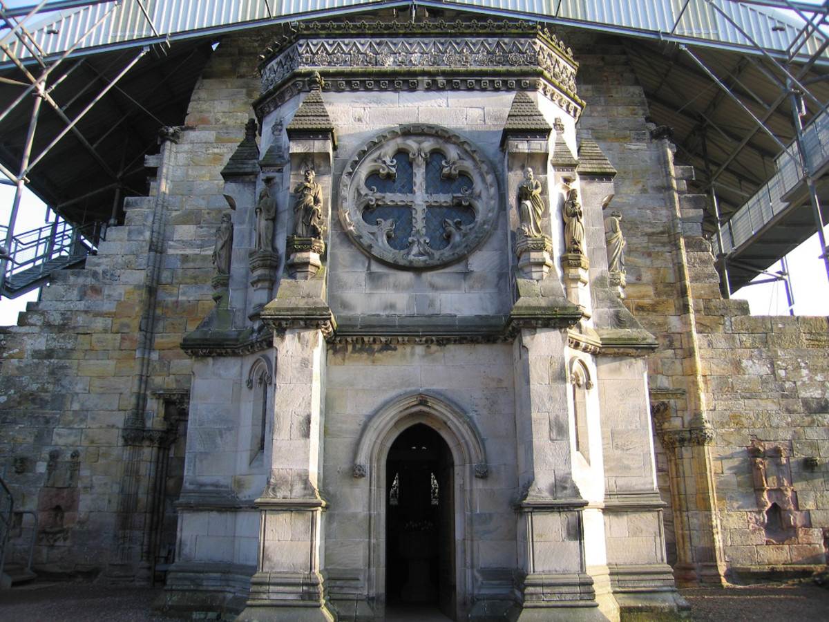Rosslyn Chapel in Scotland is believed to contain many Templar secrets in its design and structure.