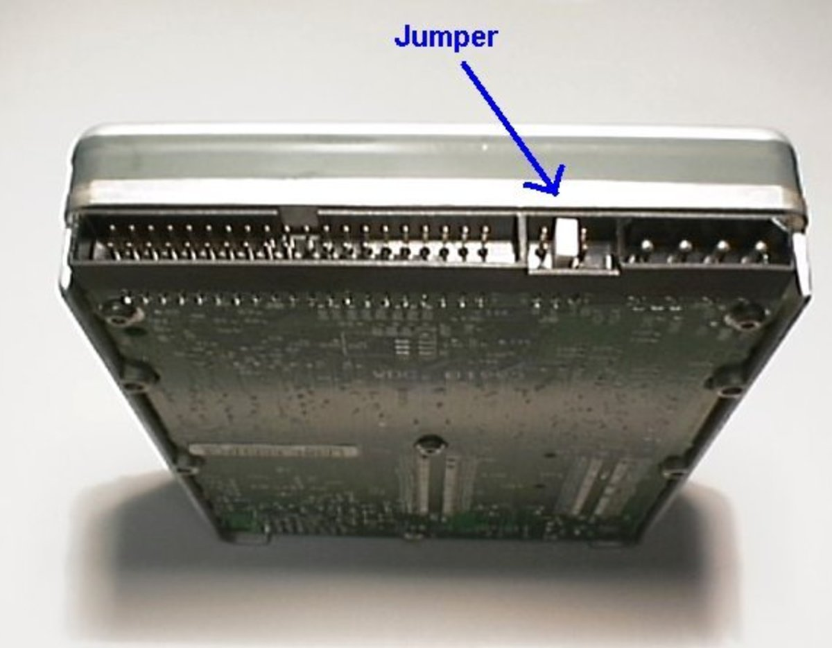 location of jumpers at the back of hard disk