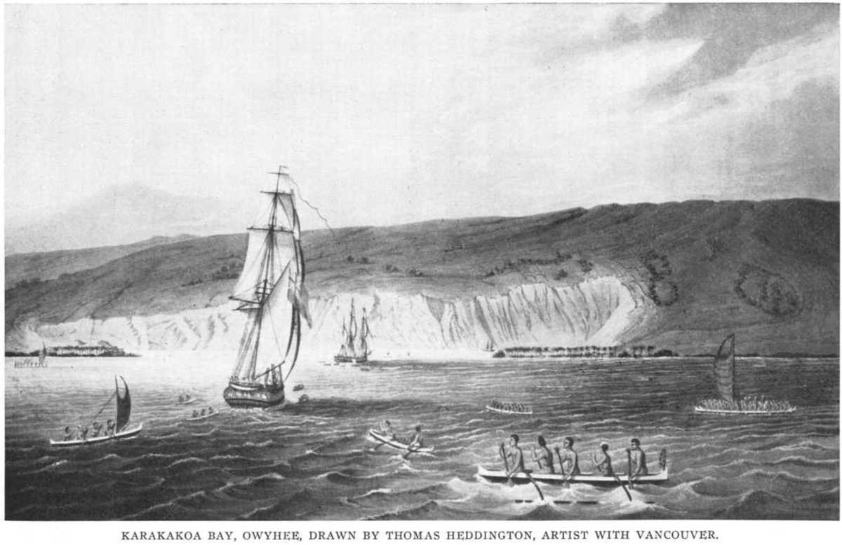 Kamehameha's ships meet Vancouver's ships in Kealakekua Bay.
