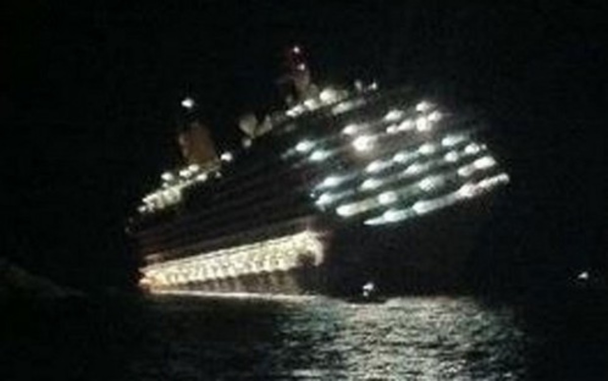Costa Concordia listing on its side