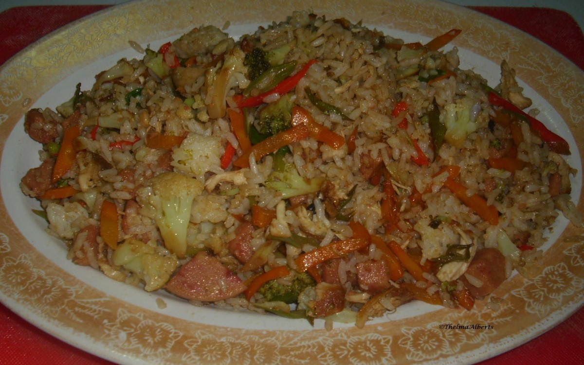 Another fried rice from leftover rice. This one is with meat and vegetables.